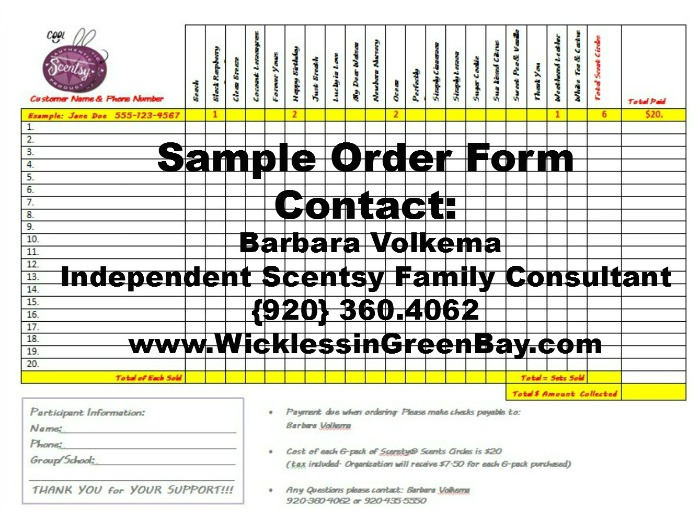 Fundraiser - Sample Order Form - Scentsy Onlinescentsy Online